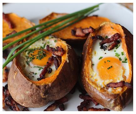 Baked Sweet Potato and Egg