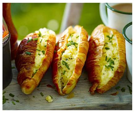 Cheesy scrambled egg croissants
