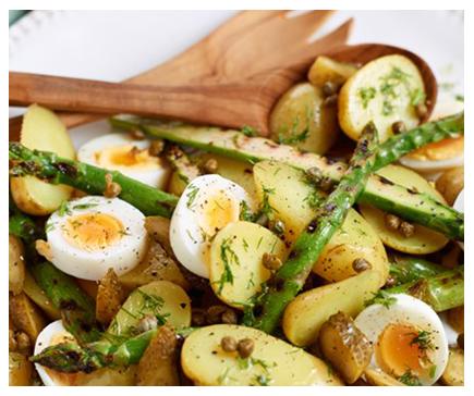 Potato, griddled asparagus and egg salad